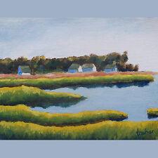 Provincetown Cape Cod Bay Salt Marsh Original Oil Painting Signed Stone Archer
