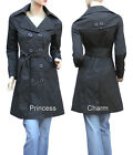 New Size 4 6 8 10 12 14 16 Black Grey Trench Coat Jacket Women's