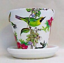 "Made To Order, Handmade Decoupage Terra Cotta Clay Pot, Bird Collage 6"""