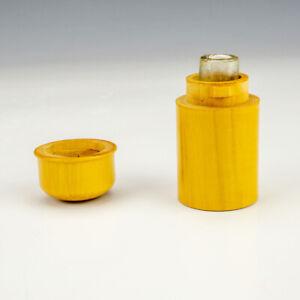 Antique Polished Wood - Pocket Travel Inkwell Ink Bottle - Early