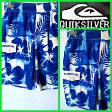 QUIKSILVER SIZE M MEN`S BLUE FLORAL PRINT ELASTIC TIE WAIST SHORTS SWIMWEAR #P4