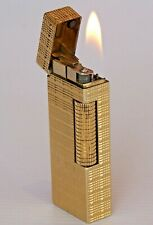 STYLISH VINTAGE DUNHILL GOLD PLATE CRISS-CROSS DESIGN ROLLAGAS CIGARETTE LIGHTER