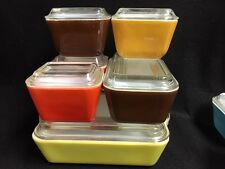 Vintage Pyrex Refrigerator Citrus Orange Yellow Brown Dish Set W Lids 12 Pcs