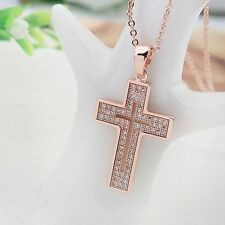 18K Rose Gold GP White Swarovski Crystals Cross Pendant Chain Necklace New