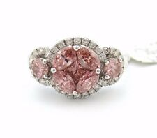 Fine Pink Diamond Marquise Princess and Round Flower Ring 1.20Ct