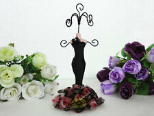 BLACK Mannequin Evening Dress Earring Necklace Ring Jewelry Holder Stand Display