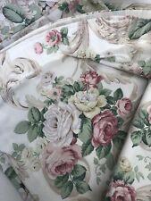 "Vintage Dorma Curtains Cream Pink Floral Roses Cottage Core W65"" D72"""