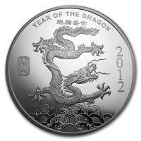 0,5 Pouces Argent 999 Ag Argenté USA Lunar Année de Dragon Dragon 2012