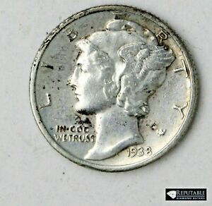 1938 S Mercury Dime 10C Silver Coin AU Almost Uncirculated Higher Grade #4594