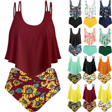 8ad4897832a Women S Dinosaur Print Ruffle Padded Tankini Set Swimsuit Swimwear Bathing  Suit
