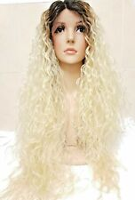 Swiss lace, human hair wig, Blonde ombre dark roots curly afro