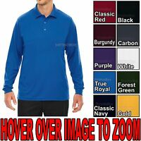MENS Performance Dri Fit Wicking Long Sleeve Polo Golf Shirt S-XL, 2X, 3X, 4X,5X