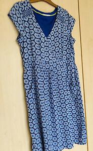 White Stuff Tropical Flower Dress Tunic Cobalt Blue 16