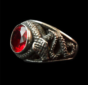 Stainless Serpent Biker Ring Large Red Crystal Center Stone Custom Size R-168ss