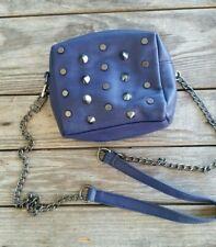 STEVE MADDEN Small Blue Studs & Spikes Cross Body Bag Chain Strap Zipper Closure