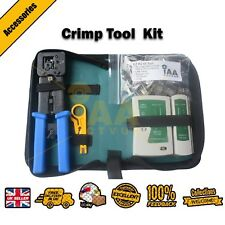 EZ CRIMP TOOL + 100 CAT6 POE CONNECTORS PLUGS + STRIPPER + CASE + TESTER EZ RJ45