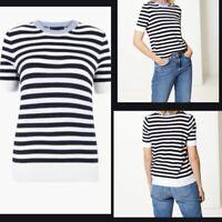 Nouveau m/&s Collection Bleu Marine /& Blanc À Rayures Blazer Jersey Veste Tailles UK 20