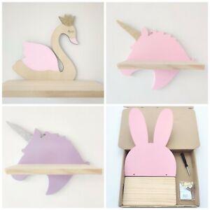 kids room decor shelf wall hanging rack swan unicorn rabbit