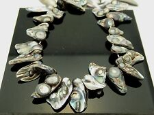 "Gray Freshwater Stick Pearls Side Drilled Irregular Shape Strand 15 "" Bargain"