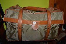 HARTMANN Luggage Khaki Nylon & Leather Suitcase Duffle Travel Bag 20 x 12 x 9