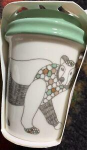 Starbucks 2017 Polar Bear Ceramic Cup Holiday Christmas Tree Ornament NWT