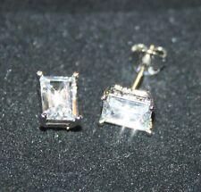 2ctw Diamond Alternatives Emerald Cut Stud Earrings 14k White Gold over 925 SS