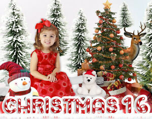 CH16 Christmas Backgrounds Children Baby Digital Holiday Props Frame Backdrops
