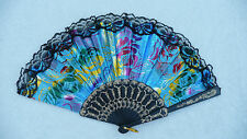 Black Lace Rim Color Fancy Roses Asian Chinese Japanese Hand held Folding Fan