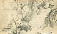 Dessin Ancien Original signé - Scène de Bar, Personnage, Pipe, Boisson, Portrait