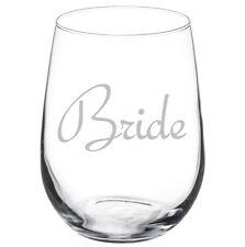 Stemless Wine Glass Goblet 17oz Bachelorette Wedding Bride