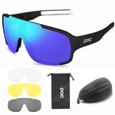 POC Cycling Biker Glasses Sunglasses UV400 Polarized Glasses W/ 3pc Replace Lens