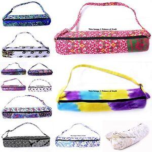 Mandala Yoga Bag Carrier Indian Cotton Mesh Center Strap Washable Pilates Bag