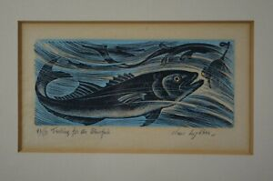 Rare Signed Clare Leighton Wood Engraving ''Trolling for The Bluefish'' 1954 MCM