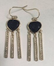 COLE HAAN DARK BLUE GOLDSTONE GOLD PLATED DANGLE EARRINGS