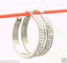 """1"""" Pave Set Double Row Crystal Hoop Earrings Stainless Steel by Design QVC"""