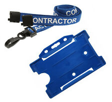 Printed Contractor Lanyard Safety Breakaway Neck Strap & Blue ID Card Holder x 1