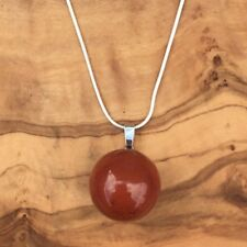 Red Jasper Ball Sphere Pendant 20mm Silver Necklace Grounding Protection Love