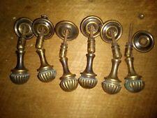drop handles x 6, brass, antique (CC65)