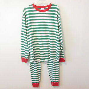 Hanna Andersson VERY MERRY GREEN CHRISTMAS ADULT Pajamas UNISEX Sz XL Striped