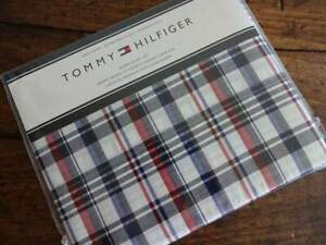 TOMMY HILFIGER Classic RED White NAVY BLUE PLAID QUEEN SHEET Set