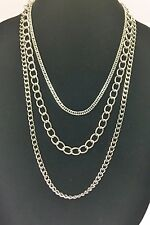 New-guess Silver Tone Chunky Layered Multi Triple Strand Chain Necklace