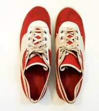Vintage Retro Womens Girls Canvas Leather Tennis Sneakers Shoes Size 5 Red White
