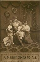 C-1910 Santa Christmas Tree Toys Children Merry Christmas Postcard 3040