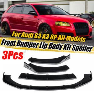 3PCS Glossy Black Car Front Bumper Lip Thick For AUDI A3 A4 A5 Q3 8P 5 S3 S4 TT