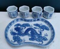 VINTAGE ORIENTAL BLUE & WHITE DRAGON MINIATURE PORCELAIN TRAY & 4 TUMBLERS