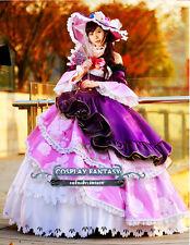 Love live Nozomi TOJO Cosplay Costume Fan Hat Purple Lolita Dress Gown Customize