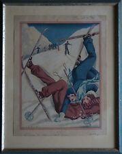 Alberto Fabio Lorenzi 1880-1969, incidente di sci, Gouache, ca. 1925 art deco