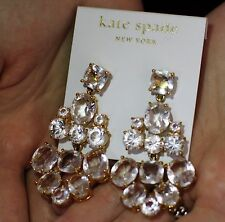 NWT Kate Spade SPARKLING 14K Filled AMAZING Chandelier Earrings in CLEAR CRYSTAL