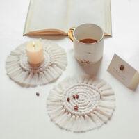 Set of 4 Round Coasters Cup Pad Mats Cotton Handmade Woven Boho Macrame Non-slip