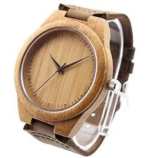 Ideashop Vosicar Bamboo Wood Watch Automatic Time Vintage Leather Strap Band Men